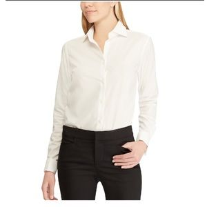 White Chaps no iron cotton XL button-up blouse